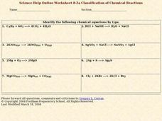 Classification of Chemical Reactions Worksheet