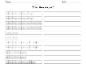 What Time do You Worksheet