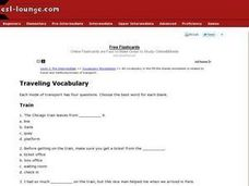 Traveling Vocabulary Worksheet