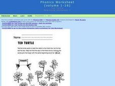 Ted Turtle Beginning Consonant T Words Worksheet
