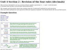 Revision of the Four Rules (Decimals) Worksheet