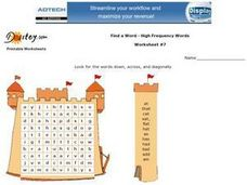 Find a Word--High Frequency Words--Worksheet #7 Worksheet