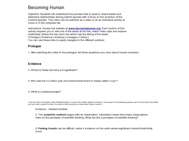 Becoming Human Worksheet for 9th - 12th Grade | Lesson Planet