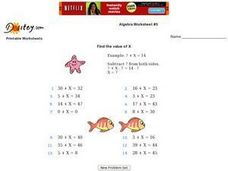 Algebra Worksheet #5 - Find the Value of X Worksheet