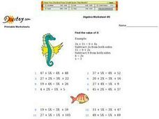 Algebra Worksheet #5 Worksheet