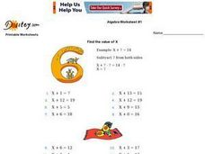 Algebra Worksheet #1 - Find the Value of X Worksheet