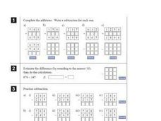 Subtraction of 3 Digit Numbers with Regrouping Worksheet