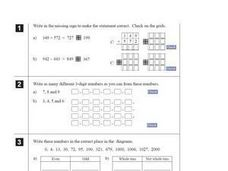 Whole Numbers, Math Signs and Shapes Worksheet