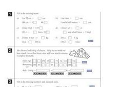 Metric Capacity Problems Worksheet