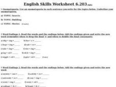 English Skills Worksheet (6.203) Worksheet