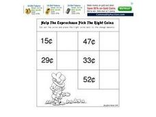Help the Leprechaun Pick the Right Coins Worksheet