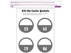 Fill the Easter Baskets: Sums of 4, 5, 6, 7 Worksheet