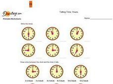 Telling Time to the Hour and Half Hour Worksheet