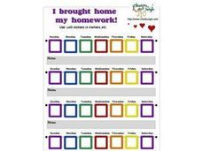I Brought Home My Homework Reward Chart Worksheet