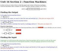 Unit 16 Section 2:  Function Machines Worksheet