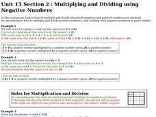 Multiplying and Dividing using Negative Numbers Worksheet
