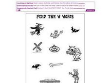 "Halloween Pictures:  Find the ""W"" Words Worksheet"