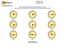 Telling Time- Quarter Past Worksheet