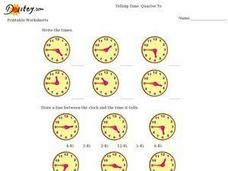 Telling Time: Quarter To Worksheet