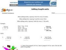 Adding Length Units-- Standard Measurement Worksheet