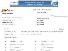 Length Units-- Metric System Worksheet