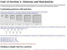 Patterns and Matchsticks Worksheet