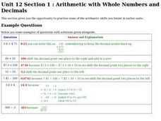 Arithmetic With Whole Numbers and Decimals Worksheet