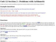 Problems With Arithmetic Worksheet