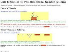 Two-dimensional Number Patterns Worksheet