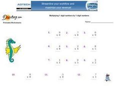 Multiplying 1-Digit Numbers by 1-Digit Numbers Worksheet