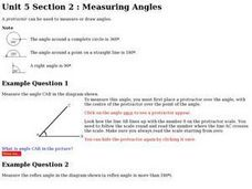 Unit 5 Section 2: Measuring Angles Worksheet