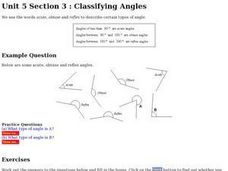 Classifying Angles Online Worksheet