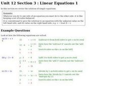 Linear Equations 1 Worksheet