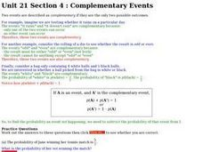 Complementary Events Worksheet
