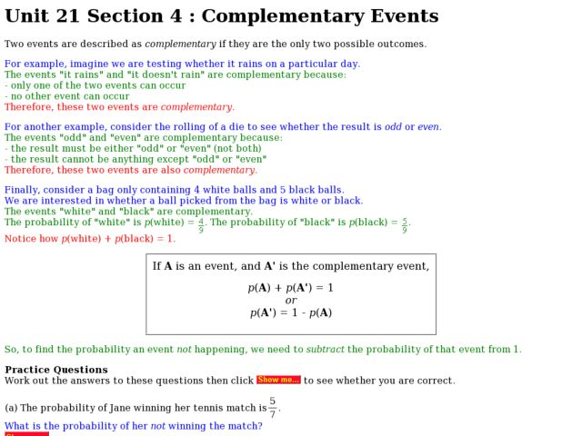 Complementary Events Worksheet for 6th - 7th Grade | Lesson