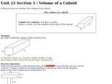 Volume of a Cuboid Worksheet