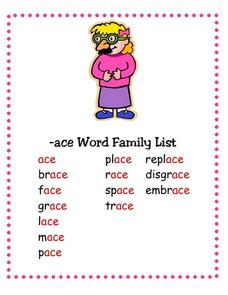 --ace Word Family List Lesson Plan