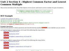 Highest Common Factor and Lowest Common Multiple Worksheet