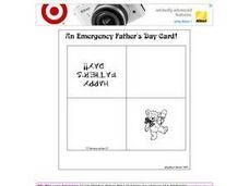 An Emergency Father's Day Card (Teddy Bear) Worksheet