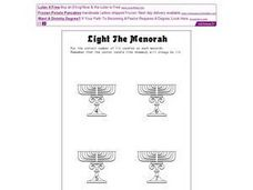Light the Menorah Worksheet