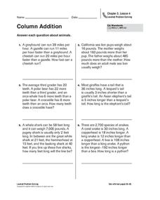 Column Addition Worksheet