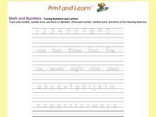Math and Numbers--Tracing Numbers and Letters Worksheet
