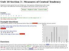 Measures of Central Tendency:  Range Worksheet