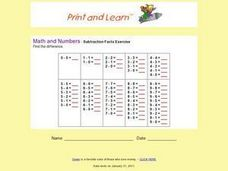 Math and Numbers - Subtraction Facts Exercise Worksheet