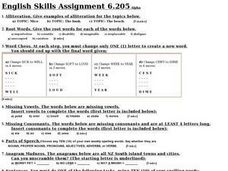 English Skills Assignment 6.205 Worksheet