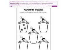 Stars on Clowns' Hats Worksheet