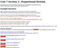 Proportional Division Worksheet