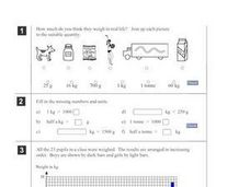 Measuring Weight: g, kg, tonne Worksheet
