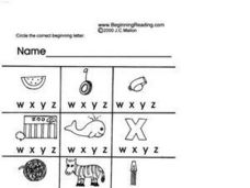 Alphabet Letters W, X, Y and Z Worksheet