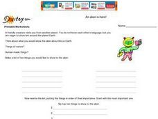 An Alien Is Here! Worksheet